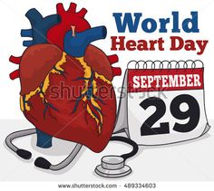 Poster with realistic cartoon poster with a stethoscope, a loose-leaf calendar with reminder date and human heart model for World Heart Day.