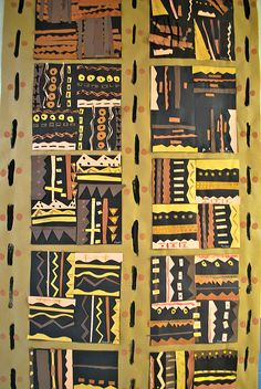 "Bogolanfini or ""Mud Cloth"" in paper. This artform is indigenous to the Bamana, a Mande speaking people of Mali, Africa. Also, see an educational resource about this topic at African Art Projects, African Art For Kids, 2nd Grade Art, Grade 2, African Quilts, African Textiles, Afrique Art, Ecole Art, Inspiration Art"
