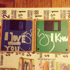 Take old floppy disks and write your favorite movie quotes on them, glue them to cork and wahlah! Cute, unique and personalized drink coasters! My boyfriend is a genius :) #obsoletetechnology #floppydisks #moviequotes