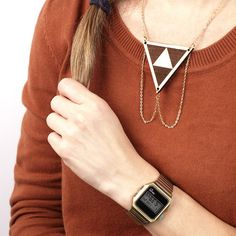 Laser cut, walnut, triangle necklace