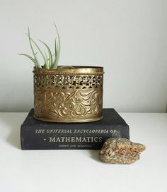 Brass Planter Small Planter Brass by ShopMidCenturyModest on Etsy Gold Planter, Planter Pots, Brass Pot, Vintage Planters, Vintage Wear, Flower Pots, Container, Place Card Holders, Pottery
