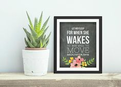 Let Her Sleep  Farmhouse Style Chalkboard  Floral Poster Art