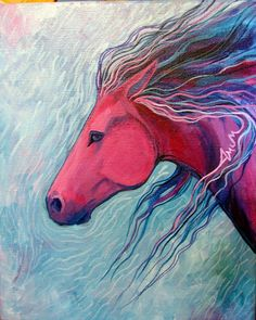 Horse of a Different Color by Sally Bartos, New Mexico artist. Her work is available from bartos on Etsy.