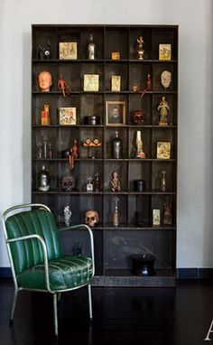 This bookcase is perfect for all the little trinkets and figurines I inevitably collect while traveling.