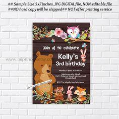 WOODLANDS BIRTHDAY Invitation Printable bunny bear owl