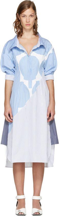 STELLA MCCARTNEY Blue Striped Sandrina Dress. #stellamccartney #cloth #dress