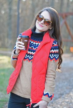 This just came up on my feed and my sister gave me this sweater for Christmas.  She knows me so well!  vest and fair isle