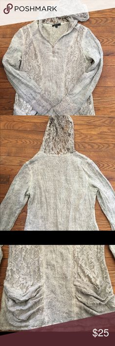 Boutique lace hoody Super cute lace hoody with slouchy front pockets. Has some VERY slight pilling which it had when I bought it so I guess may be the nature of the fabric? (See last pic) I only wore it a few times & always hand washed & lay flat to dry. Tops Sweatshirts & Hoodies