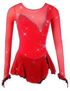 Figure Skating Dress Women's / Girls' Ice Skating Dress Red Spandex, Mesh High Elasticity Competition Skating Wear Breathable, Handmade Novelty / Fashion / Dumb Light Long Sleeve Ice Skating / Figure