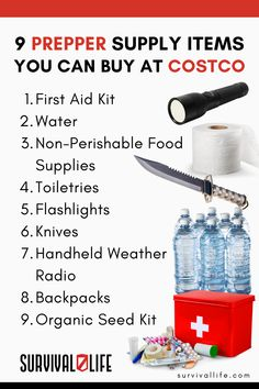 Costco is a great place to buy prepper supplies. Whether you're stocking your bug-out bag, survival bunker, or just buying food for that weekend camping trip breakfast, Costco has you covered! #preppersupplies #prepperitems #Costco #prepper #survivalkit #survivalitems #survival #preparedness #survivallife Survival Cache, Survival Life Hacks, Survival Items, Survival Tools, Skill Tools, Prepper Supplies, Weekend Camping Trip, Weather Radio, Apocalypse Survival