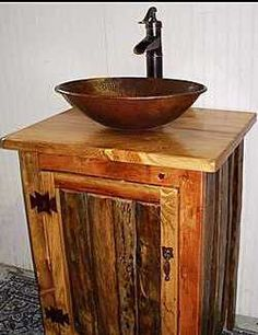 Rustic Bathroom Vanity With Copper Vessel Sink And Bronze Pump Faucet - Ms1373…