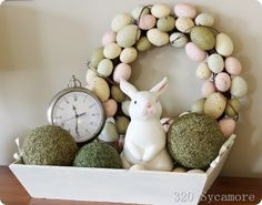 Easter vignette or centerpiece with tray, bunny, moss covered balls, clock, egg wreath Easter Crafts, Holiday Crafts, Holiday Fun, Easter Decor, Easter Ideas, Holiday Ideas, Hoppy Easter, Easter Bunny, Easter Eggs