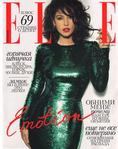 Monica Bellucci in green Dolce&Gabbana sequined dress covers Elle Russia, October 2011