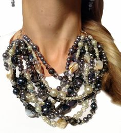 Graphite grays, sparkly silver, and creamy ivories, featuring my signature combination of shiny pearls, eclectic stones, and hundreds of crystals. Neutral, classic, goes with everything! https://www.etsy.com/listing/92546496/classic-statement-necklace-gray-silver