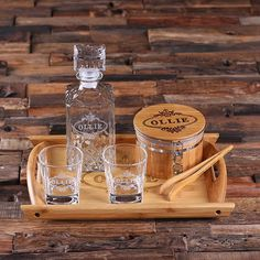Personalized Whiskey Decanter Set with Ice Bucket with Tongs, Whiskey Glasses, Wood Tray Anniversary Gift Groomsmen Dad Father Gift (025233)