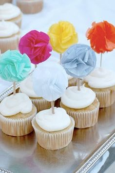 Pom-pom cupcake toppers #birthday #babyshower | More here: http://mylusciouslife.com/pinterest-stripes-polka-dots-and-pom-poms/