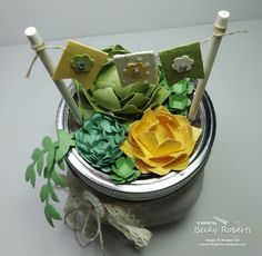 Succulent Garden using Stampin' Up! Punches and Framlits- Flower Flair, Bouquet Die, Fun Flowers and Petite Punches