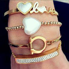 Set By Vila Veloni Beautiful White Love Bracelets