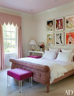 In a children's bedroom, reprints of Vogue covers are framed above the bed | archdigest.com