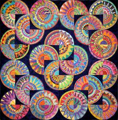 This Cinco de Mayo pattern is one of the most complex varieties of New York Beauty - 2008 by the Buda Bee Quilters of Buda, Texas.Wonkyworld: Cinco de Mayo Have each student create a quarter of a circle to create the large work. Group Art Projects, School Art Projects, Collaborative Art Projects For Kids, Collaborative Mural, Auction Projects, Auction Ideas, Clay Projects, Arte Linear, Atelier D Art