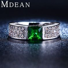 MDEAN Emerald nhẫn đối với phụ nữ Màu Xanh Lá Cây trắng gold plated nữ nhẫn CZ Diamond trang sức Engagement wedding thời trang bague MSR210