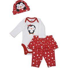 Gerber Newborn Girls' 3 Piece Penguin Hat, Bodysuit and Pant Set