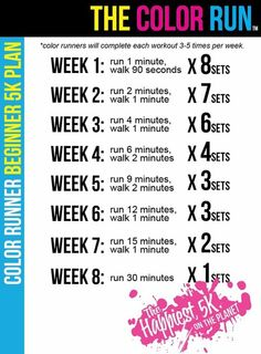 Training Plan for Beginners from The Color Run. Appropriate, since running in a Color Run is one of my first main training goals! The Color Run, Sport Fitness, Fitness Diet, Health Fitness, Fitness Plan, Workout Fitness, Army Workout, Fitness Friday, Health Zone