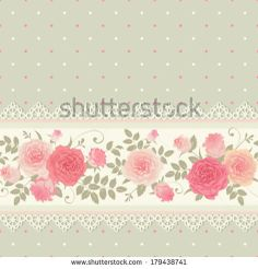 Vector polka dots pattern with climbing roses Seamless floral background Horizontal border