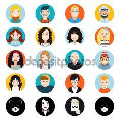 Stilvolle gut aussehend männlichen und weiblichen Charaktere Avatar Sammlung von Gesichtern Icons im flachen Design-Vektor-Illustration — Stock Illustration #70669863