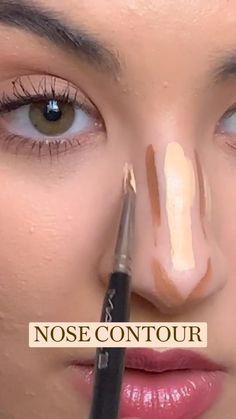 Nose Makeup, Contour Makeup, Eyebrow Makeup, Skin Makeup, Beauty Makeup, Makeup Tips, How To Contour Nose, Makeup Tutorials, How To Makeup