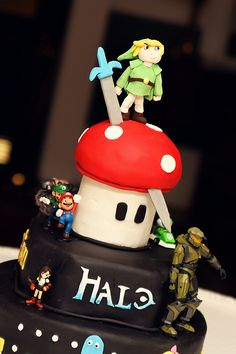 Azriel would love this...mario, legend of zelda and halo themed cake