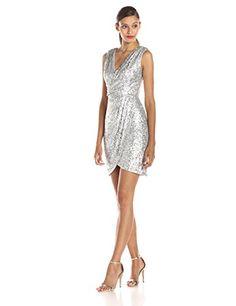 Adrianna Papell Surplice Sequin Dress, Silver - http://www.womansindex.com/adrianna-papell-surplice-sequin-dress-silver/