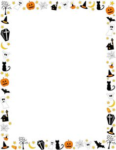 Halloween border featuring jack-o-lanterns, ghosts, spooky trees, and other objects. Free downloads at http://pageborders.org/download/halloween-border/