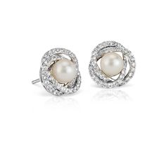 Freshwater Cultured Pearl and White Sapphire Stud Earrings in 14k White Gold