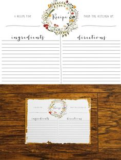 ideas for wedding planner binder free recipe cards Recipe Book Templates, Printable Recipe Cards, Printable Planner, Free Printables, Wedding Planner Binder, Best Wedding Planner, Family Recipe Book, Organizing Labels, Free Prints