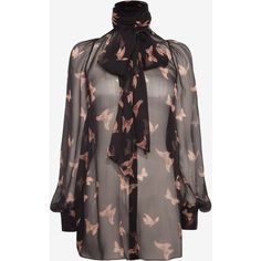 Alexander McQueen Moth Print Bow Shirt (€1.150) ❤ liked on Polyvore featuring tops, long sleeve shirts, shirt tops, butterfly top, bow top and long sleeve tops
