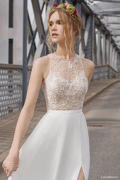 limor rosen 2015 olivia sleeveless wedding dress slit skirt illusion beaded bodice close up
