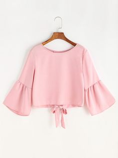 Shop Fluted Sleeve Bow Tie Overlap Back Blouse online. SheIn offers Fluted Sleeve Bow Tie Overlap Back Blouse & more to fit your fashionable needs. Hijab Fashion, Teen Fashion, Korean Fashion, Fashion Outfits, Summer Outfits, Casual Outfits, Cute Outfits, Blouse Styles, Blouse Designs