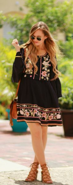 Embroidered boho dress and lace up sandals, easy summer outfit
