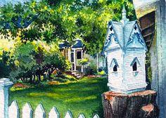 """Birdhouse Charm"" Original watercolor ACEO - 2.5x3.5"". © Jillian Crider Birdhouse in Garden (Jacksonville, OR)."