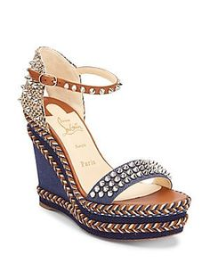67763aff6d3 Christian Louboutin Mad Monica 120 Leather   Denim Wedge Sandals 795 2019
