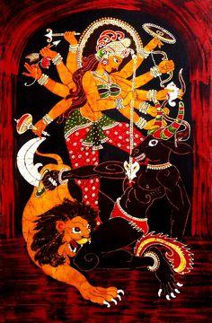 Mahishasuramardini Durga - Batik Painting on Cloth (Batik Painting on Cotton Cloth - Unframed)