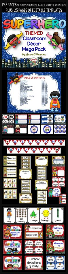 Classroom Decor Templates ~ Ideas about superhero classroom decorations on