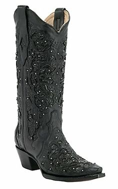Corral® Ladies Black w/ Cobra Lazor Inlay & Crystals Snip Toe Western Boots | Cavender's Boot City