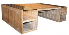 Salontafel De Koninck is direct leverbaar.  Uitvoering: salontafel vierkant met glas accenten. Kleur hout: oud blank antiek met krijtwit. Normaal: €1.675,00. Aanbiedingsprijs: €845,00.