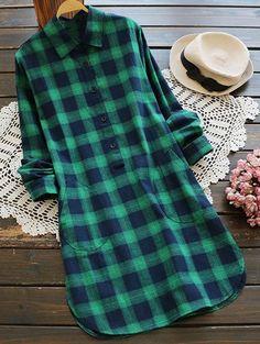 Pockets Checked Shirt Dress - GREEN L