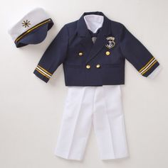 Nothing gets me like a baby sailor suit: Captain's Jacket Nautical Suit - Ahoy Matey: Baby Sets Sail - Events Cute Outfits For Kids, Cute Kids, Cute Babies, Baby Kids, Nautical Outfits, Nautical Fashion, Baby Set, Toddler Fashion, Kids Fashion