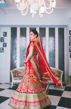 Gorgeous Red Bridal Lehenga #red #lehenga #bridallehenga #wedmegood