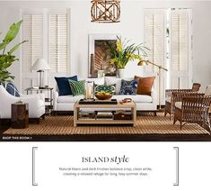 This classic, timeworn look can look a touch antiquated so, how can you bring the look in your modern, contemporary home? The key is by keeping colours fresh (whites over creams and beige's); balancing heavy, solid furniture with light, 'leggy' chairs and pieces; using tropical indoor plants with oversized foliage, to add life and energy to a room; and using subtle texture to add an earthy charm (via natural jutes, raw timbers, marble, seagrass, and sea-shells.
