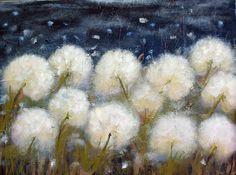 "Dandelion Art - Flower Art - Landscape Painting Digital Print - 11:11 Make A Wish -  Art Print 8 x 10"""